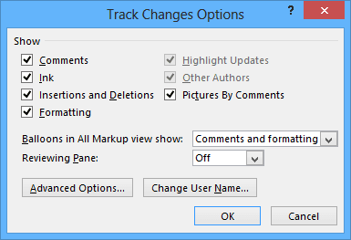 Track Changes advansed options in Word 2013