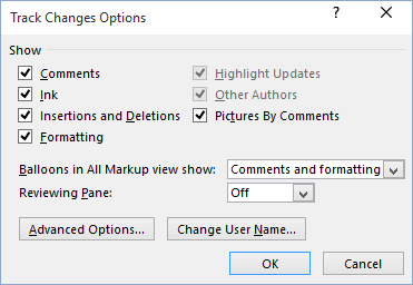 Track Changes advansed options in Word 2016