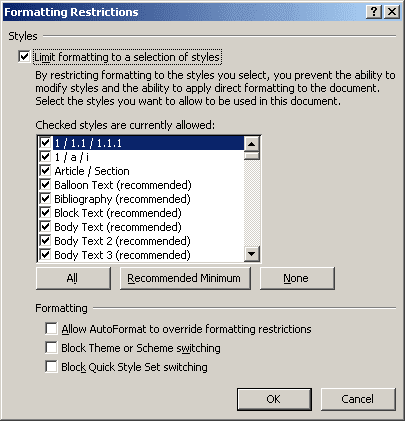 Formatting Restrictions in Word 2007