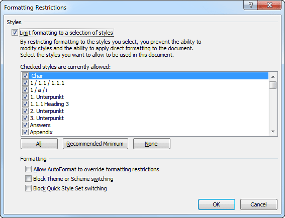 Formatting Restrictions in Word 2010