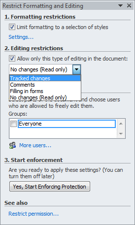 Editing restrictions in Word 2010
