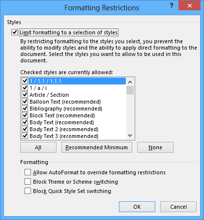 Formatting Restrictions in Word 2013