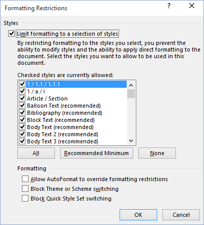 Formatting Restrictions in Word 2016