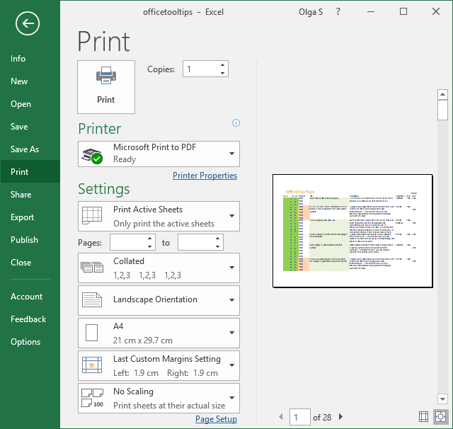 Print options in Excel 2016