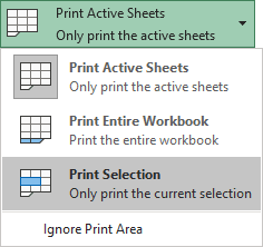 Print Selection in Excel 365