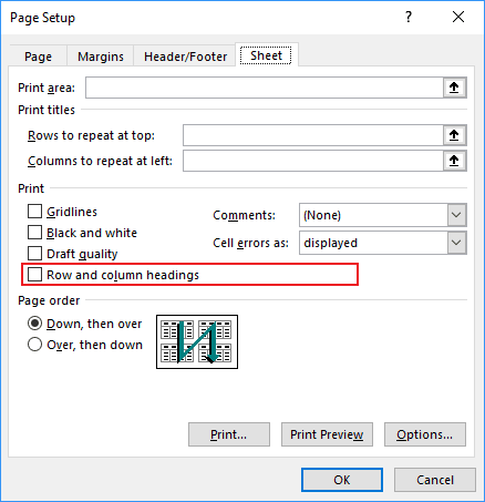Page Setup Row and column headings in Excel 2016
