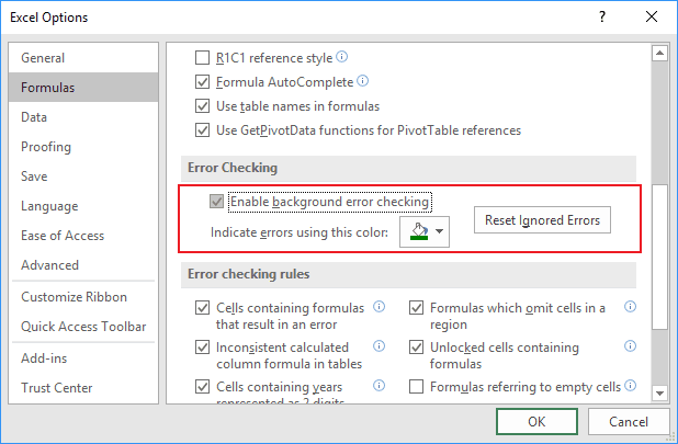 Error checking in Excel 2016