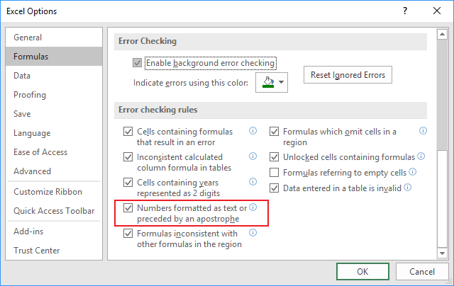 Error checking rules in Excel 2016