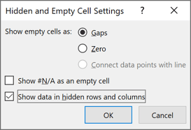 Hidden and Empty Cell Settings in Excel 365