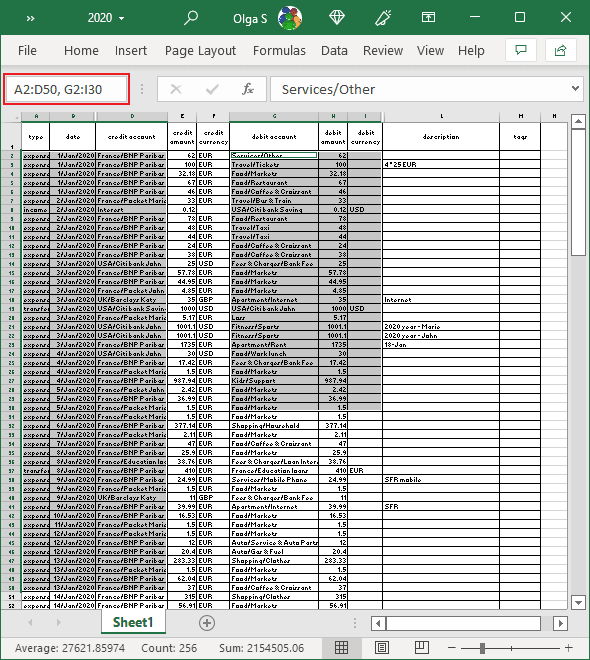 Select free form data ranges in Excel 365