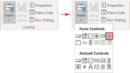 Controls, Option button in Excel 365