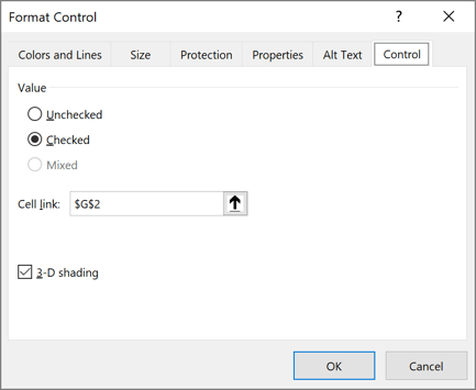 Format Control Option button in Excel 365