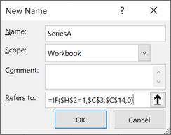 New Name dialog box in Excel 365