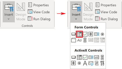 Controls, Combo box in Excel 365