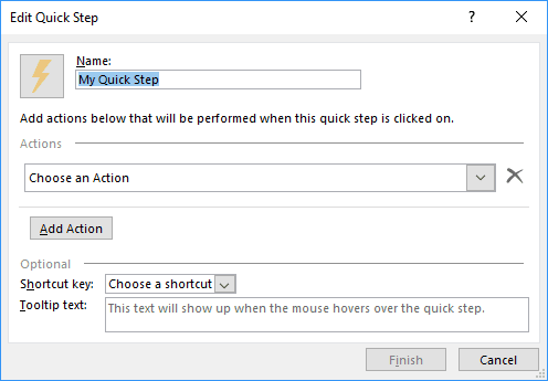 Edit Quick Step dialog box in Outlook 2016