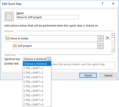 Shortcut key in Edit Quick Step dialog box Outlook 2016