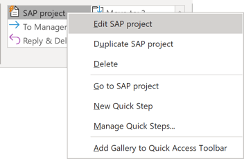 Quick Step to edit in Outlook 365