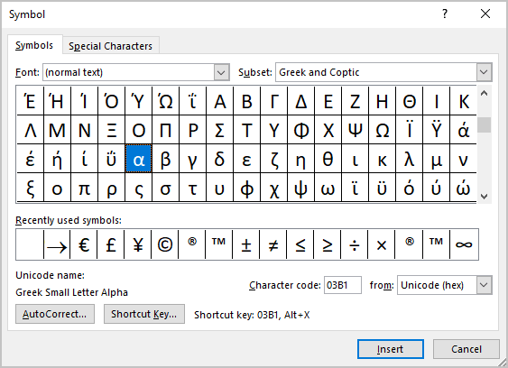 Symbol in Word 365