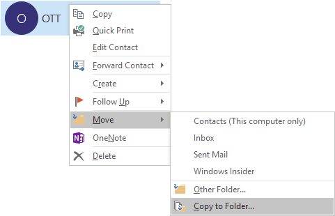 Copy to Folder in Outlook 2016