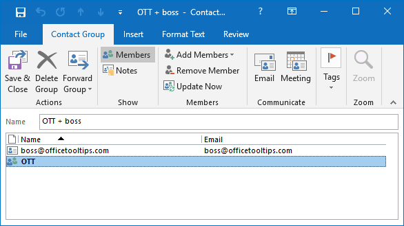The bigger Contact Group in Outlook 2016
