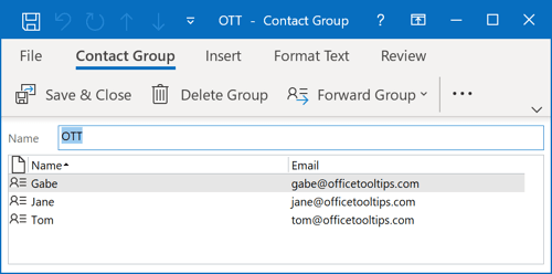 The smaller Contact Group in Outlook 365