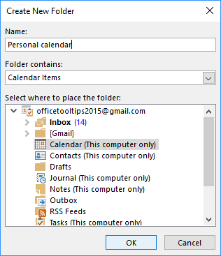 Create New Folder in Outlook 2016