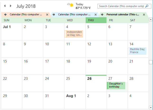 Calendars in one combined view Outlook 2016