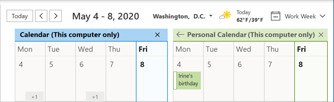 Calendar Side-by-Side view in Outlook 365