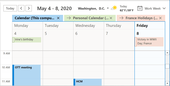 Calendars in one combined view Outlook 365