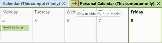 Calendar View in Side-by-Side Mode Outlook 365