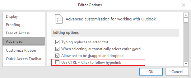Editor Options Outlook 2016