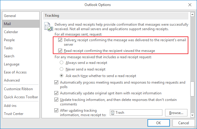 Tracking Options for outgoing messages in Outlook 2016