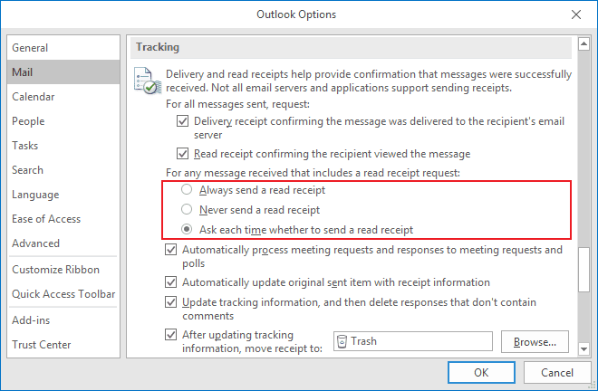 Tracking Options for incoming messages in Outlook 2016