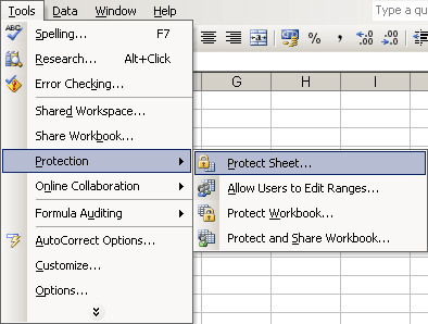 Protect in Excel 2003