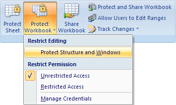 Protect Workbook button in Excel 2007