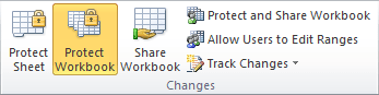 Protect Workbook button in Excel 2010