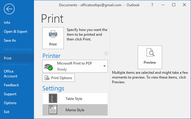 Print in Outlook 2016
