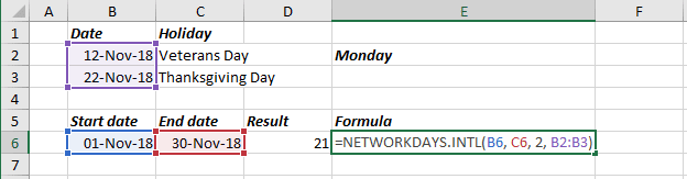 Number of Work Days for unusual shifts in Excel 2016