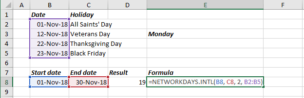 Work Days for unusual shifts in Excel 2016