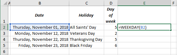 Day of week calculation in Excel 2016