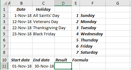 Calculate the number of work days for a four-day workweek in Excel 2016