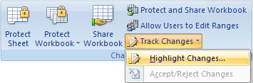 Highlight Changes in Excel 2007