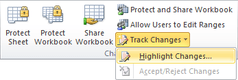 Highlight Changes in Excel 2010