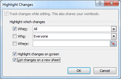Highlight Changes dialog in Excel 2010