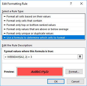 Edit Formatting Rule for Wednesdays in Excel 2016