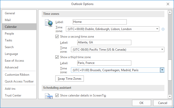 Customize time zones in Outlook 365