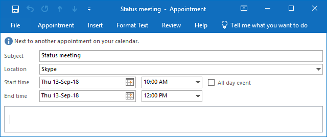 New meeting or appointment in Outlook 2016