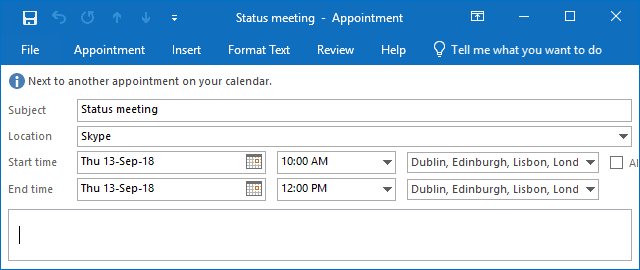 Added Time Zones for a meeting in Outlook 2016
