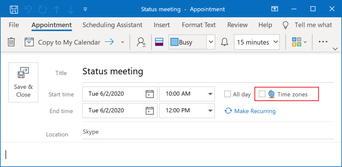 New meeting or appointment in Outlook 365
