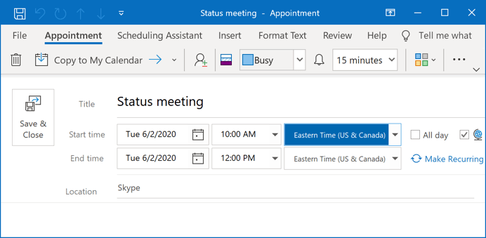 Changed time for a meeting in Outlook 365